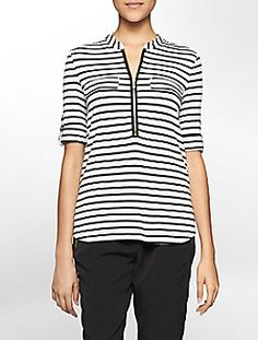 striped partial zip front roll-up sleeve top $54.50