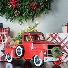 AmazonSmile: Large Vintage Holiday Truck or Car with Lighted Christmas Tree / Seasonal Decoration (Red Truck): Home & Kitchen