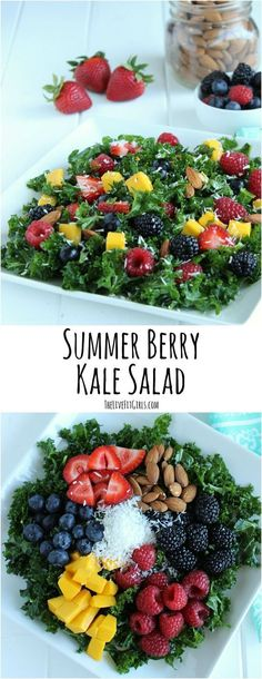 Enjoy all the flavors of summer with this simple Summer Berry Kale Salad. Sweet fruit and shredded coconut will have you dreaming of an island oasis.(Spinach Recipes Whole Kale Recipes, Healthy Recipes, Healthy Salads, Vegetarian Recipes, Healthy Eating, Cooking Recipes, Kale Salads, Massaged Kale Salad, Berry Salad