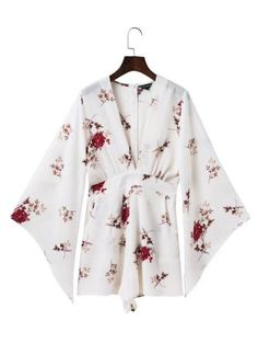 8753455bf08 Bell Sleeve Deep V-Neck Pocket Romper In Floral Printed Blouse Styles