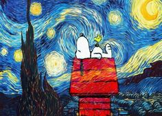Design DIY Painting By Numbers - Snoopy Under Starry Night Snoopy Love, Charlie Brown And Snoopy, Snoopy And Woodstock, Starry Night Art, Starry Nights, Snoopy Wallpaper, Snoopy Pictures, Van Gogh Art, Arte Pop