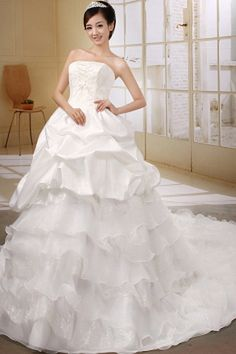 Luxury White Organza Wedding Gowns - Order Link: http://www.theweddingdresses.com/luxury-white-organza-wedding-gowns-twdn0422.html - Embellishments: Beading , Lace , Sequin , Tiered; Length: Cathedral Train; Fabric: Organza; Waist: Natural - Price: 141.2USD