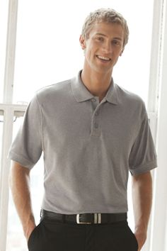 Style 2100 Soft-Blend Double-Tuck Pique Polo 60% cotton/40% polyester, 5 oz. double-tuck pique body, solid trim, three-button placket, dye....  #customapparel #uniforms  #companyclothing  #embroidered  #printed  #logo