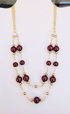 Double Strand Rich Brown Glass Pearl Necklace and Earring Set