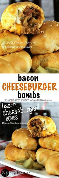 Bacon Cheeseburger Bombs! <3 A delicious crispy crust filled with an amazing cheeseburger filling and loaded up with gooey cheese!: