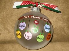 names on this Personalized hand painted ornament name Personalized Family Ornament Christmas Ornament Crafts, Noel Christmas, Diy Christmas Gifts, Christmas Projects, Holiday Crafts, Christmas Bulbs, Christmas Decorations, Christmas Ideas, Homemade Christmas