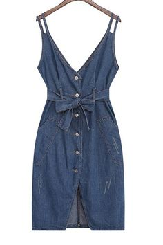 Single-Breasted Denim Midi Dress With Belt DEEP BLUE: Casual Dresses | ZAFUL