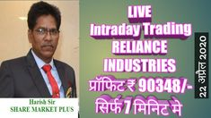 RELIANCE INDUSTRIES I LIVE INTRA DAY TRADING I PROFIT Rs. 90348/- ONLY I...