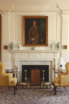 Fluting, dentils, mantel, fireplace surround, andirons. georgiansoul: The parlor at Eyre Hall, built circa 1759. ...