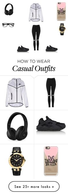 """Casual"" by beautie-swagg on Polyvore featuring NIKE, Topshop, Casetify, Beats by Dr. Dre, Versace, women's clothing, women, female, woman and misses"