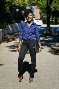 Perfectly hemmed skinnies and tucked in blouse