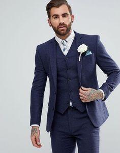 ASOS Wedding Super Skinny Suit Jacket In Blue Micro Check Mens Fashion #mensfashion #menswear #ad #mensstyle