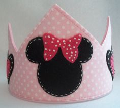 Minnie Mouse Birthday Crown Party Hat  Dress Up Play or Photo Prop via Etsy