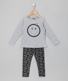 Take a look at this Gray Smiley Face Tunic & Black Leopard Leggings - Toddler by My Sweet Doll on #zulily today!