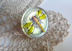 Oversize Czech Dragonfly Button Ring