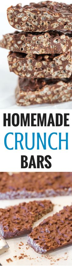- These homemade Crunch bars are SO easy and only require TWO ingredients! These homemade Crunch bars are SO easy and only require TWO ingredients! Just Desserts, Delicious Desserts, Yummy Treats, Sweet Treats, Cookie Recipes, Dessert Recipes, Bar Recipes, Fudge Recipes, Kolaci I Torte