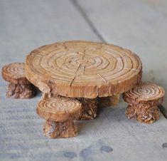 Miniature Woodland Table and Stools - Set of 5