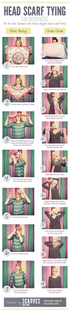Trendy how to wear a bandana in your hair tutorial headscarves 32 ideas Head Scarf Tying, Shave My Head, Scarf Knots, Step By Step Hairstyles, How To Wear Scarves, Bad Hair Day, Scarf Hairstyles, Mode Style, Scarf Styles