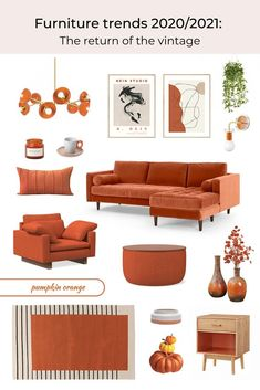 With sustainable furniture becoming a hot topic in the interior industry, vintage furniture trend is only expected to grow in popularity. Colorful Furniture, Cool Furniture, Furniture Design, Orange Furniture, Color Terracota, Orange Home Decor, Interior Desing, Sustainable Furniture, Sofa Colors