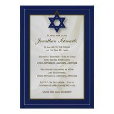 Bar Mitzvah Invitations Elegant Fabric Bar Mitzvah Invitation in Navy