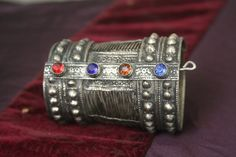 Tribal silver cuff bracelet -- old Kuchi jewelry