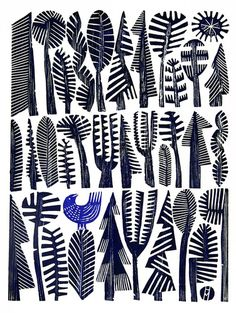 Blue Bird by Hilke MacIntyre Blue Bird Woodcut Print, Hilke MacIntyre - Edition of 35