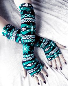 Arctic Aztec Arm Warmers - Deep Teal Turquoise, White and Black Tribal Print Design - by ZenAndCoffee #zenandcoffee #armwarmers #gloves #yoga #running #winter #holiday #giftidea #cycling #gothic #hooping #unisex #sleeves #handwarmers #christmas #tribal