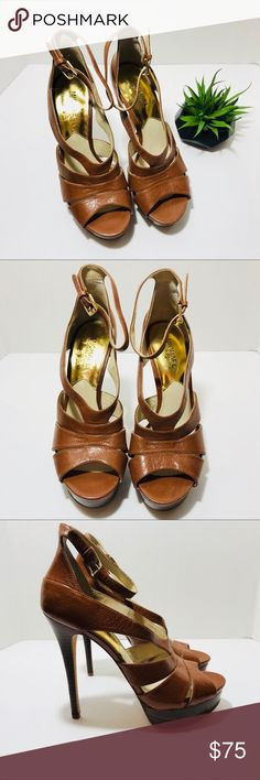 "Michael Kors Strappy Heels Michael Kors strappy sandals brown patent leather ankle strap closure platform pumps approximately 5 1/4"" heel 1"" platform size 8 Michael Kors Shoes Heels"