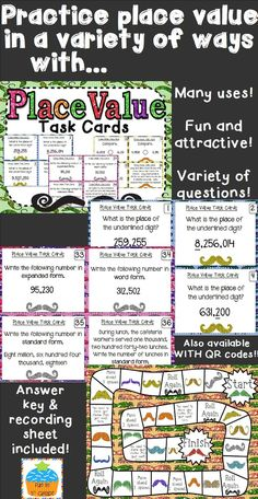Place Value Task Cards: Available with and without QR codes!  {Mustache Theme} $
