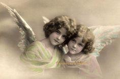 Two Heavenly GIRLS ANGELS Vintage Postcard Image by PostcardMuse
