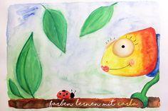 Farben lernen mit Carla Chamäleon. Eine Lerngeschichte für Kleinkinder in Kita und Kindergarten mit Printable als Freebie zum Download.