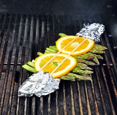 Asparagus with orange on Big Green Egg (the best grill ever made)