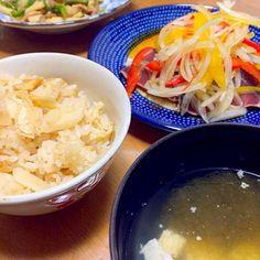 もずくと豆腐の澄まし汁 蓮根酢 青椒肉絲 - 9件のもぐもぐ - たけのこご飯と鰹のたたき by kimurasawaOyK