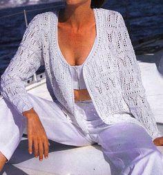 Free Knitting Patterns: White cardigan in ajoure pattern