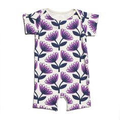 Lotus Floral Summer Romper (Navy & Lavender) - $36.00  The perfect one-piece outfit. Lap neck opening and 4 snap buttons.