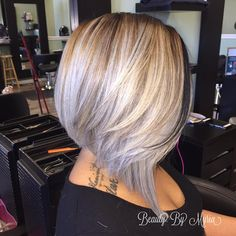 70 Best A-Line Bob Hairstyles Screaming with Class and Style - - Silver Blonde Angled Layered Bob Shaggy Bob Haircut, Blonde Bob Haircut, Inverted Bob Haircuts, Wavy Bob Hairstyles, Trendy Haircuts, Pixie Haircuts, Layered Haircuts, Medium Hairstyles, Braided Hairstyles