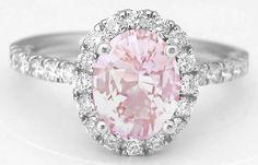 Light Pink Sapphire and Diamond Halo Rings