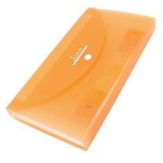 Clear Orange Plastic Shell Button Closure 13 Page Letters Paper File Folder File Folder, Orange, Filing, Closure, Paper, Shell, Letters, Button, Plastic