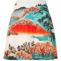 Carven landscape print skirt ($515) ❤ liked on Polyvore featuring skirts, bottoms, black, print skirt, colorful skirts, multi colored skirt, carven skirt and patterned skirts