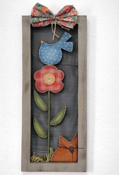 Framed Bird, Cat and Flower Farm Crafts, Country Crafts, Country Art, Country Decor, Wood Crafts, Diy And Crafts, Arts And Crafts, Primitive Crafts, Country Primitive