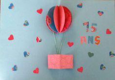 Carte pop-up montgolfière