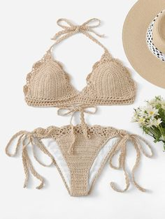 Shop Scalloped Trim Crochet Halter Top With Tie Side Bikini online. SHEIN offers Scalloped Trim Crochet Halter Top With Tie Side Bikini & more to fit your fashionable needs.To find out about the [good_name] at SHEIN, part of our latest Bikinis ready to sh Bikini Bustier, Bikini Swimwear, Bikini Bottoms, Swimsuits, Crochet Halter Tops, Bikini Crochet, Crochet Triangle, Bikini Ready, Bra Types
