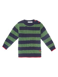JoJo Maman Bébé Cable Knit Stripe Jumper - boy or girl