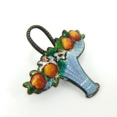 Vintage Art Deco Sterling Enamel Fruit Flower Basket Brooch Pin, $80.00