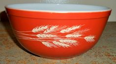 Vintage Bowl Pyrex Orange Wheat Autumn Harvest by TheBackShak