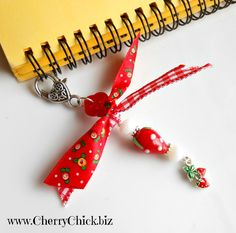 Day Planner Charm - Zipper Pull - Strawberry Charm - Purse Charm - Travelers Notebook Charm - Journal Charm - Strawberry Lampwork glass by DecorativeSewingPins on Etsy
