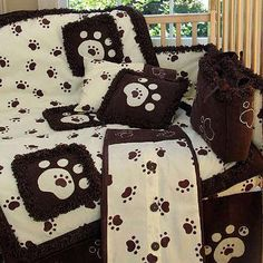 Tiny Paws Brown and Ivory Puppy Dog Prints 9 Piece Crib Bedding Set Gender Neutral #3