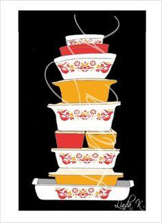 Pyrex Friendship Pattern 5 x 7 Art Print or Flat by lindakdesign, $5.00