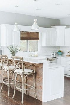 9 Cheap And Easy Diy Ideas: Modern Farmhouse Kitchen Remodel kitchen remodel black appliances light fixtures.Open Kitchen Remodel Exposed Beams tiny kitchen remodel how to build.Kitchen Remodel With Island Window. Wood Kitchen Island, Kitchen Peninsula, Farmhouse Kitchen Cabinets, Kitchen Redo, Kitchen Styling, New Kitchen, Kitchen Ideas, Kitchen Islands, Kitchen Small