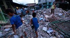 Dozens of casualties, massive destruction in Ecuador struck by 7.8 quake Live updates  http://pronewsonline.com  People stand amongst the rubble of fallen homes in Manta on April 17, 2016, after a powerful 7.8-magnitude earthquake struck Ecuador on April 16. © Juan Cevallos